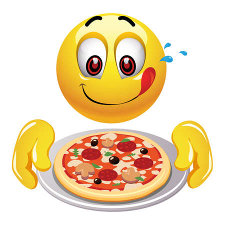 Hungry smiley looking at tasty pizza. Illustration of food loving smiley.
