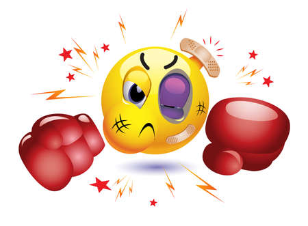 Smiley boxer fighting in gloves. Angry emoticon prepared to fight.