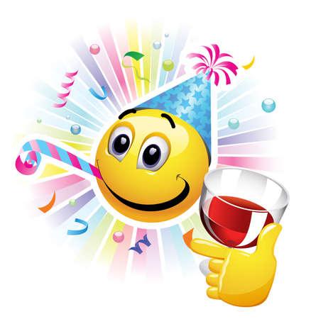 Bola sonriente celebrando. Bola sonriente alegre y divirtiéndose en la fiesta.