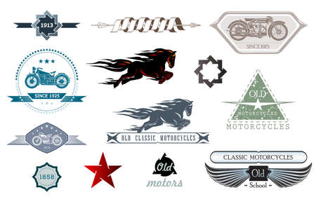 Car repair, garage, auto service emblems. Vintage design elements for logo, label, sign. Vector logo for motorcycle and car restoration, repair and racing. Foto de archivo - 133656746