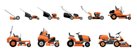 Various types of lawn mowers isolated on white background. Mowed grass. Gardening grass-cutter. Flat vector illustration. Stok Fotoğraf - 117578158