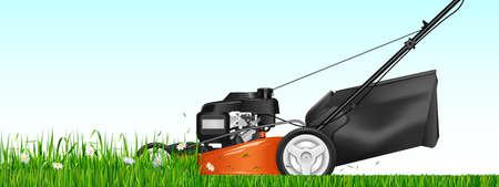 Rasenmäher. Gemähtes Gras. Rasenmäher, der grünes Gras schneidet. Vektor-Illustration.