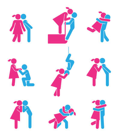 Various types and ideas for romantic kisses and Valentines day. Pictograms which represent couples in love.
