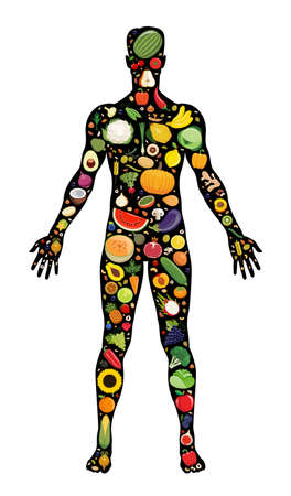 Set of fruit and vegetable icons forming man`s body shape. Vector illustration which represent healthy vegetarian diet with fresh fruit and vegetable. Vegetarian food icons.