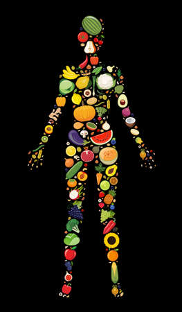 Set of fruit and vegetable icons forming woman`s body shape. Vector illustration which represent healthy vegetarian diet with fresh fruit and vegetable. Vegetarian food icons. Çizim