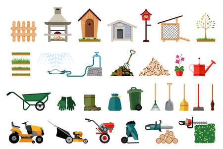 Set van verschillende tuinartikelen. Binnenplaats rondom het huis. Tuingereedschap. Platte ontwerp illustratie van items voor tuinieren.
