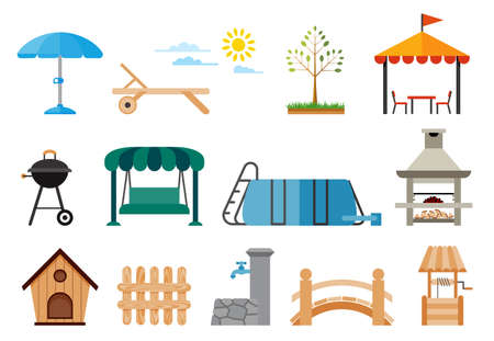 Set of various gardening items. Courtyard around the house. Flat design illustration of Yard and Garden items. Leisure lifestyle.
