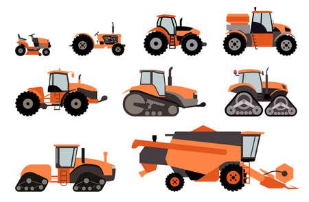 Landbouwmechanisatie plat pictogrammen. Set van verschillende soorten landbouwvoertuigen en machines oogstmachines, maaidorsers en graafmachines. Icon set van werkende machines.
