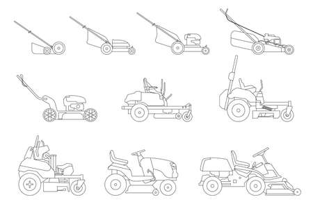 Various types of lawn mowers isolated on white background. Mowed grass. Vector illustration of gardening grass-cutter.