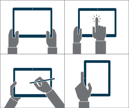 Hands using tablet. Concept of modern work place. Vector illustration in flat style.