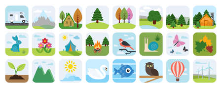 Nature and environment icon set. Landscape icons, flat design. Natural beauties.