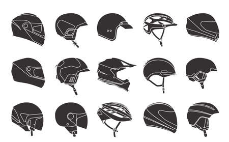 Set of racing helmets on a white background. Racing helmets for car, motorcycle and bicycle. Head protection. Monochrome icons. Фото со стока - 131695647
