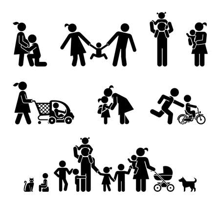 Big happy family. Children and their parents. Pictograms presenting parental love and care for children.