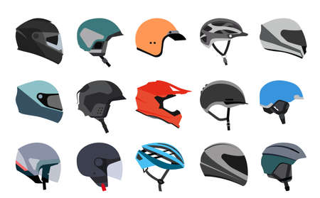 Set of racing helmets on a white background. Racing helmets for car, motorcycle and bicycle. Head protection.  Иллюстрация