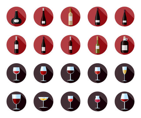 Flat vector icons of black and white wine bottles. Flat vector illustration of glass of wine and wine bottle with label. Illustration