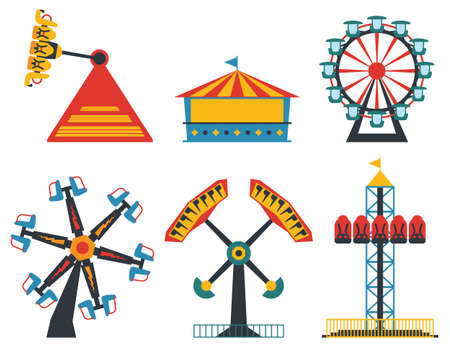 Amusement park flat set. Fun and entertainment outdoors. Roller coaster and adrenaline rides.