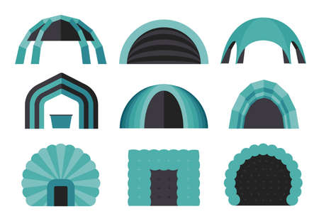 Set of various designs of inflatable tents for various purposes. Inflatable tent for event and for outdoor celebrations. Simple and lovable vector illustrations.