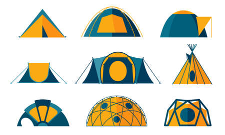 Collection of tent icons for camping in the nature. Set of various designs of tents for camping and spending time outdoors. Simple and lovable vector illustrations.
