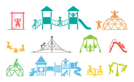 Children play on playground. Kid playground equipment icons. Childhood pictogram icon set.