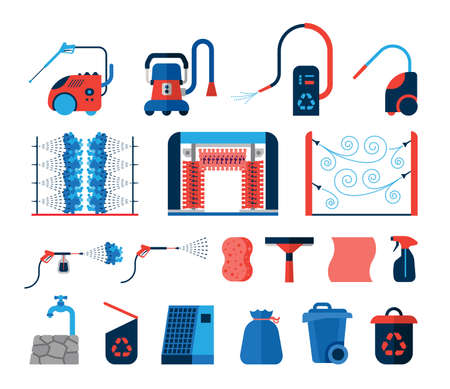 Set of car wash tools flat icons. Collection of icons presenting equipment used for car wash.  일러스트
