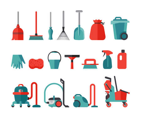 Set of flat icons for cleaning service tools. Collection of icons presenting equipment for cleaning homes and offices. Housework professional assistance.