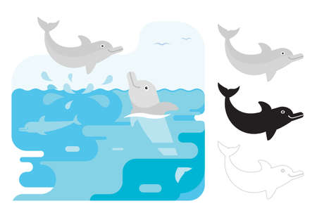 Flat illustration of dolphin vector icon for web. Cute dolphin vector illustration - flat design. Graphic design elements for print and web. Ilustração