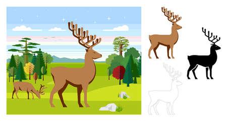 Deer icons. Flat vector illustration of deer. Decorative cute illustration for children. Graphic design elements for print and web. Ilustração