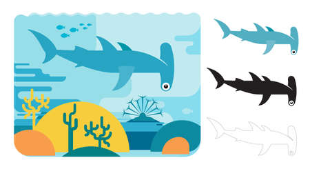 Hammer head shark icons. Flat vector illustration of hammer head shark. Decorative cute illustration for children. Graphic design elements for print and web. Ilustração