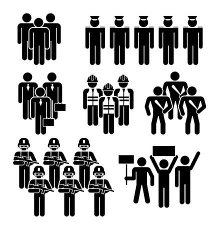 Group of People Worker from Different Profession. People Figure Pictogram Icons. Crowd signs. Illustration