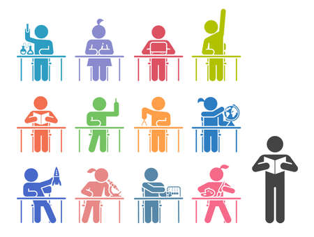 Collection of icons presenting education and different school subjects, science, art, history, geography, chemistry, maths, music, chemistry. Students in school attending classes. Pictogram icon set. School days. Illusztráció