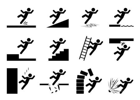 Set of safety signs. Slippery icons. Collection of warning and caution signs. Signs of danger and alerts. Vector Illustration