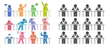School days. Students in school attending classes. Teacher and pupils in classroom. Pictogram icon set.