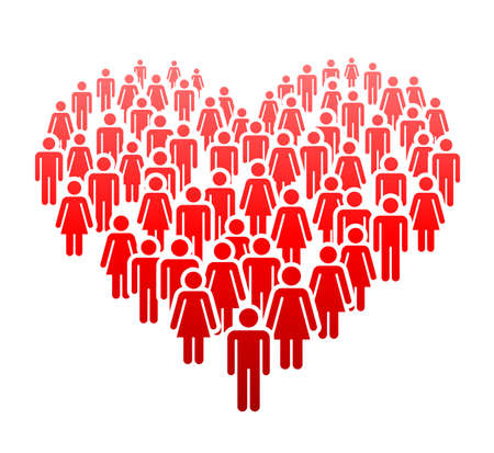 A large number of people standing in a group in the form of heart. Concept of People Figure Pictogram Icons. Community signs.