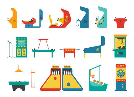 Icon set of various gaming machines. Machines for entertainment and fun. Flat vector illustration. Иллюстрация