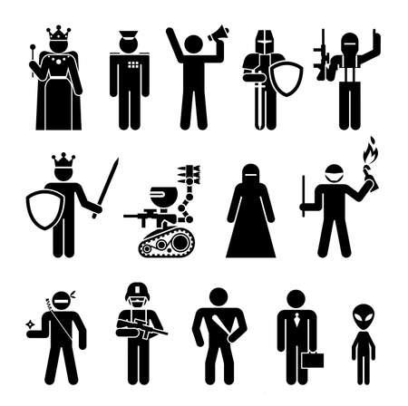 Reihe von Symbolen, die militärische und politische Macht darstellen. Piktogramme, die gefährliche Personen und Maschinen mit verschiedenen beruflichen Tätigkeiten darstellen.