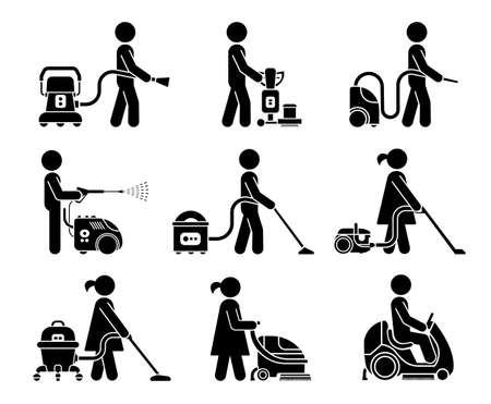 Cleaning service and equipment for cleaning homes and offices. Set of icons which represent people using various types of cleaning service tools.