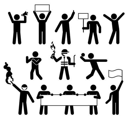 Political Protests. Demonstrators holding protest slogans. Protesters pictogram concept. Group of people. Illustration