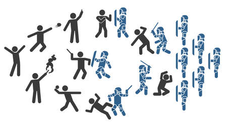 Police special forces. Set of icons that represent confrontation between police and demonstrators. Set of pictograms that represent police and protesters clash.