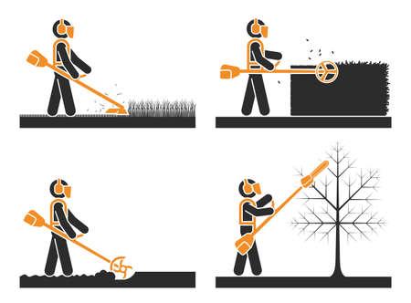 Set di icone di pittogrammi che presentano diversi tipi di rifinitore. Tagliaerba a batteria Tagliaerba Tagliaerba Erbacce Attrezzo per legare bordi giardino.