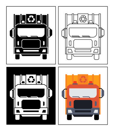 Garbage collector symbol presented as pictogram, black and white, line icons and flat icons. Set of dustmen icons.
