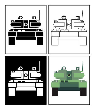 Battle Tanks symbol presented as pictogram, black and white, line icons and flat icons. Set of battle tank icons.
