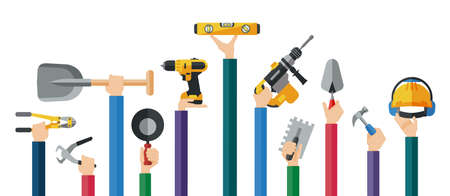 Flat design illustration of hands holding mason hand tools. Hands holding hand and power electric tools for construction workers. Vector illustration. Ilustração