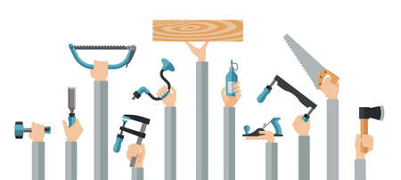Flat design illustration of hands holding carpentry tools. Vector illustration set of master tools for wood. 向量圖像