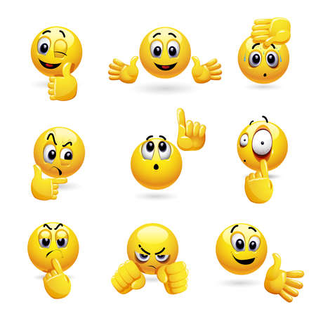 Vector set of smiling ball icons with different face expression. Set of emoticons gesturing with his hand.