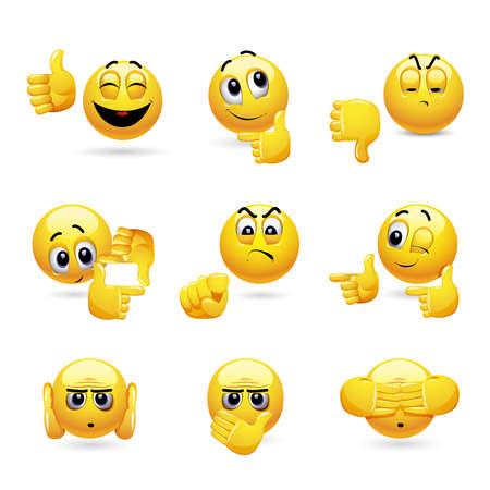 Insieme di vettore delle icone di palla sorridente con espressione del viso diversa. Set di emoticon che gesticolano con la mano.