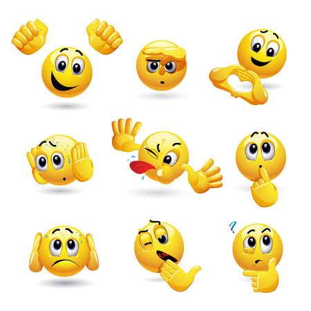 Ensemble de vecteur d'icônes de balle souriante avec une expression de visage différente. Ensemble d'émoticônes faisant des gestes avec sa main. Vecteurs