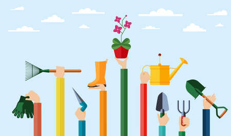 Flat design illustration of hands holding gardening tools. Hands holding various items for gardening and growing flowers. Vektorové ilustrace