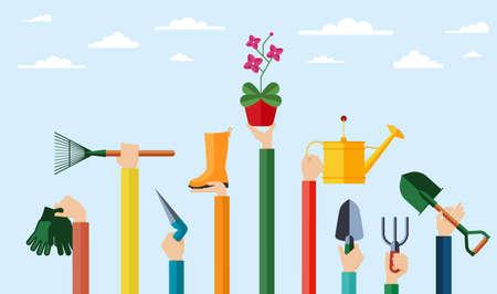 Ilustración de diseño plano de manos sosteniendo herramientas de jardinería. Manos sosteniendo varios elementos para jardinería y cultivo de flores. Ilustración de vector