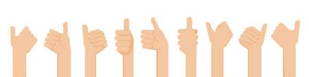 Flat design illustration of hands showing thumb up. Vector illustration of hands showing positive mood.