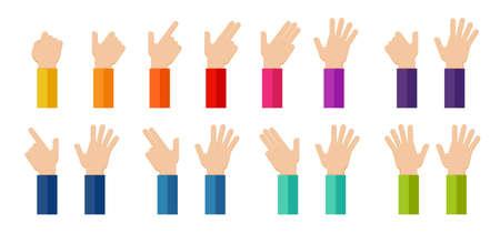 Icono de manos con los dedos. Hasta diez en los dedos para contar educación.
